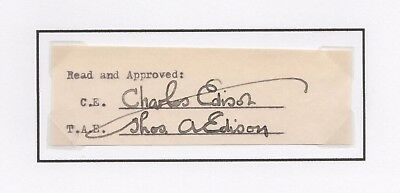 Thomas Edison Signed Sheet Beckett Bas Certified Authentic Autograph Rare!