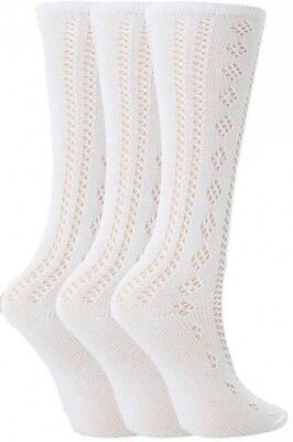 3 Pairs Drew Brady Girls 3/4 Length White Pelerine School Socks 76% Cotton