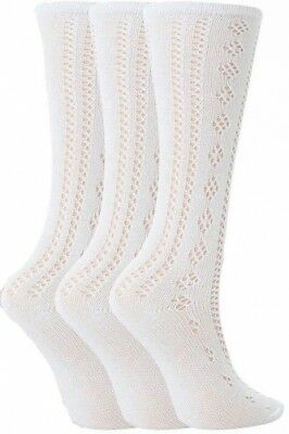 3 Pairs Drew Brady Girls Knee High White Pelerine School Socks 76% Cotton