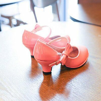 Girls High-heel Shoes Patent PU Leather Mary Jane Shoes with Bowknot Decor AZ