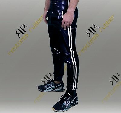 Latex Jogginghose Stripes Herren schwarz weiß NEU XS S M L XL Rubber