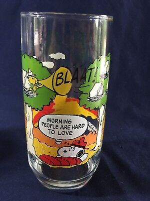 Vintage Camp Snoopy Collection Mcdonalds Glass Peanuts Morning People