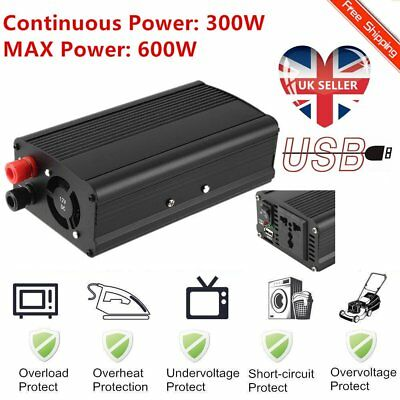 300/600W Car DC 12V to AC 220V Power Inverter Charger Converter Sine Wave USB ET