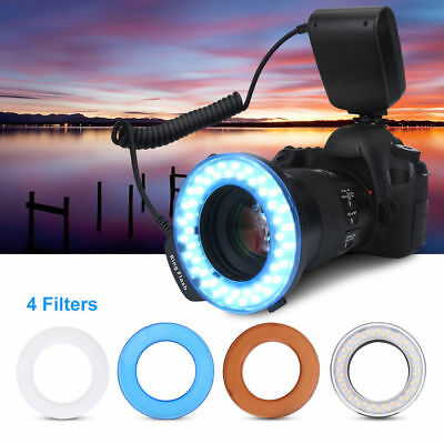 Neewer RF-550D 48 Macro LED Ring anillo Flash luz Incluye 4 Difusores Negro