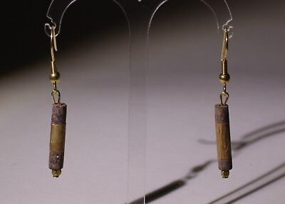 2 X Ancient Carved Lapis Lazuli And Gold Bead Earrings - No Reserve 01