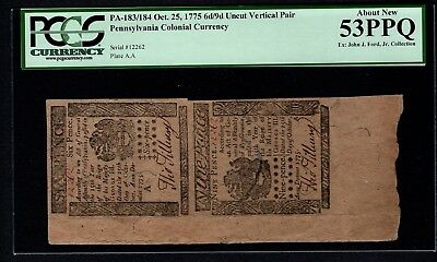 1775 Pennsylvania Colonial Currency Uncut Pair PCGS 53 PPQ PA-183/184 6d/9d