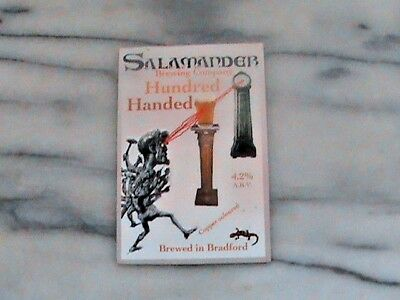 Salamander Hundred Handed Real Ale Beer Pump Clip Sign