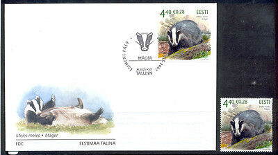 Estonia FDC and Stamp 2007 MNH** ''Badger''.