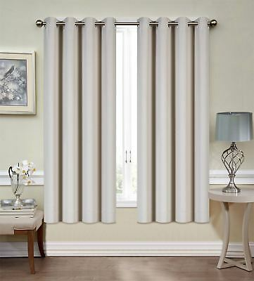 """Mellanni Blackout Curtains 2-Panel 52""""x63"""" Thermal Insulated w/ Siver Grommets"""