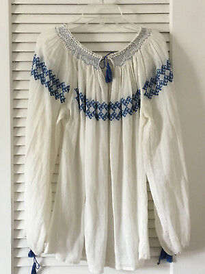 Romanian Traditional Peasant Blouse Blue Embroidery vintage cotton gauze Medium