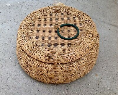 Vintage Marshall Islands Micronesia Woven Grass Sewing Basket Tribal Oceania