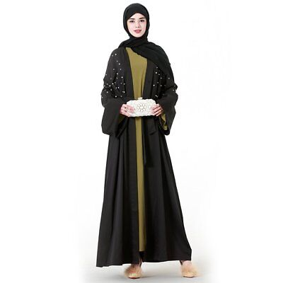 Elegant Dress Cardigan Arabic Dubai Muslim Abaya Dress Long Robes Long Sleeved S
