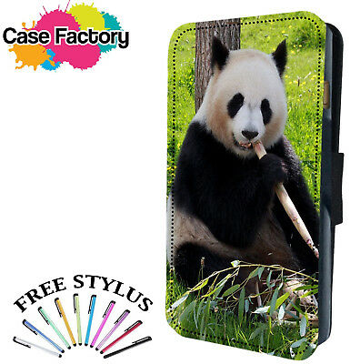 CUTE  PANDA BEAR CHILLING - Leather Flip Wallet Phone Case Cover