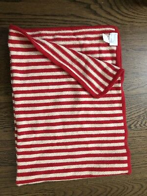 Baby Cz Bbay 100% Cashmere Blanket Red And Cream