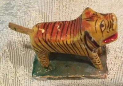 """1 1/4"""" Carved Painted Wood Asian tiger Animal Figurine miniature RARE FIND"""