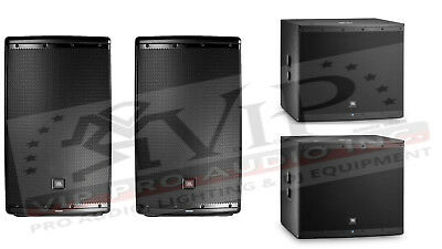"""2x JBL Eon615 Active Powered Speaker 1000W + 2x Eon618S 18"""" Amplified Subs -NEW-"""