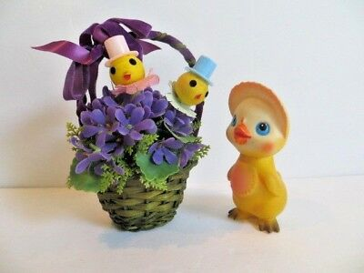 Vintage Easter Hong Kong Plastic Decoration  Picks and Soft Plastic Chick - 1968