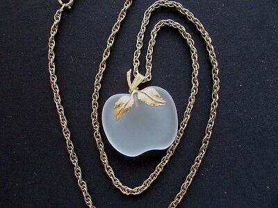 Vintage  Frosted Glass Apple Necklace Clear AVON on Chain Gold Tone