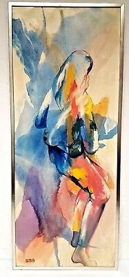 """Marge Mills Original Expressionist Acrylic Painting of Woman on Canvas 17"""" x 40"""""""