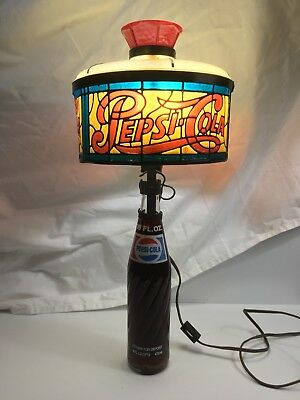 Vintage 70'S PEPSI - COLA  Bottle And Lamp Shade Table Lamp -Tiffany Style