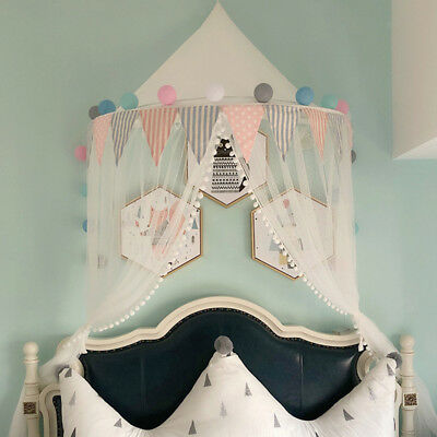 Bed Canopy Princess Mosquito Net Baby Toddler Bedroom Decor - White Large