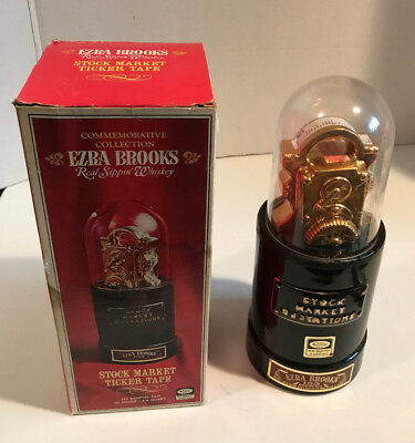 Vintage Ezra Brooks Stock Market Quotations Decanter 1970 NYSE 24k Gold Heritage