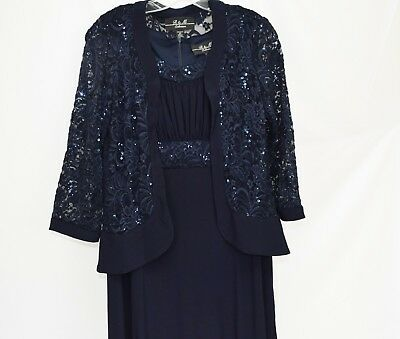 R & M Richards Dress & Sequined Lace Jacket - Blue Navy