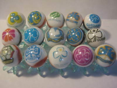 Girl Guides Girl Scouts of the USA Glass Marbles lot with Stands 5/8 size