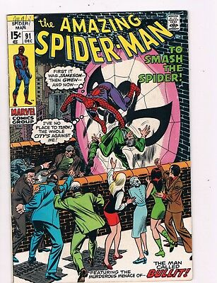 Amazing Spider-Man #91 (1970) 1St Appearance Of Sam Bullit...capt. Stacy Funeral