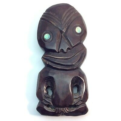 Vintage Wooden Hand Carved Wooden Tiki Wall Plaque