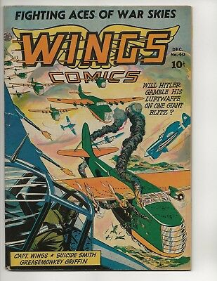 Wings Comics #40 Fn Golden Age 1943 Fiction House Wwii Air Combat Nazi War Cov
