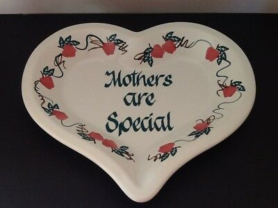 "Chaparral Usa ""mothers Are Special"" Heart Shaped With Apples Pottery Plate"