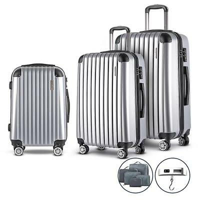 Silver 3pc Luggage Suitcase Trolley Set TSA Hard Case Lightweight Business Trave