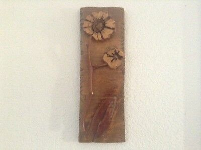 OOAK! HANDMADE RARE CHOLLA CACTUS WOOD FLOWER PICTURE*BY MARCUS 2nd PC TO SET