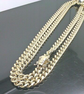 """Mens Real 10k Gold 8mm Miami Cuban Chain Necklace Box Lock 26"""" inch Rope,link N"""