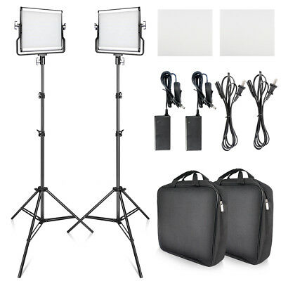 Travor 2-Pack Dimmable Bi-color LED Video Photo Camera Light+ 2M Light Stand Kit