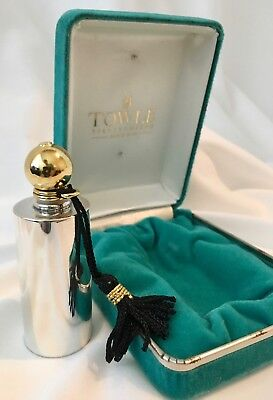 Vtg Sterling Silver Perfume Flask TOWLE Art Deco Vial Bottle Pendant Modernist