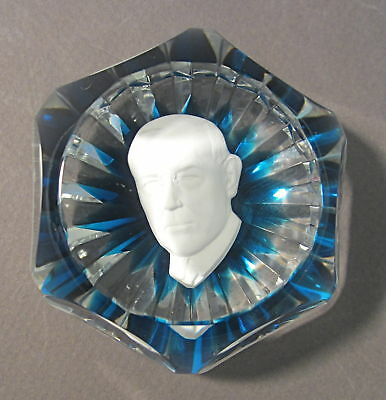 BACCARAT Signed French Art Glass WOODROW WILSON Sulphide Facet Paperweight 1971