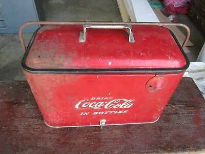 Coca Cola Cooler Original Condition Embossed Letters - Progress Refrigerator Co