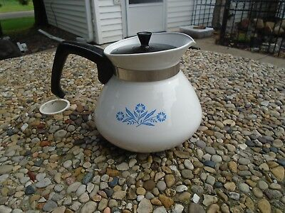 Vintage Corning Ware Blue Cornflower Coffee Tea Pot 6 Cup P-104