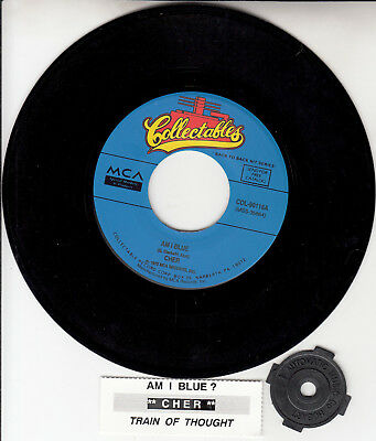 """CHER  Am I Blue & Train Of Thought 7"""" 45 vinyl record + juke box title strip NEW"""
