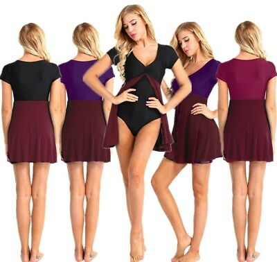 Adult Women Elegant Ballet Leotard Skirt V-Neck Dance Dress w/ Split Mesh Skirt