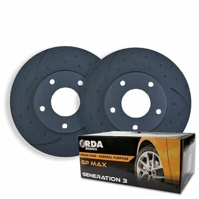 DIMPLED SLOTTED FRONT DISC BRAKE ROTORS+PADS for Ford BA 6cyl V8 XT XR6 XR6T XR8