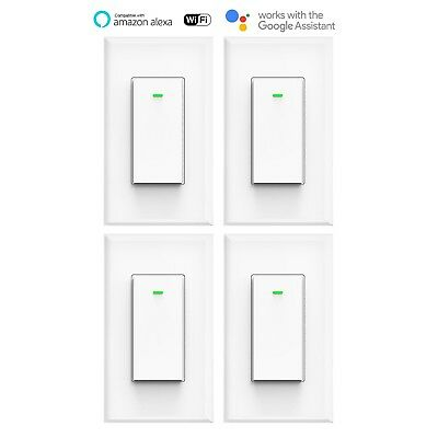 Smart WIFI Switch Light Wall Works with Alexa Google Home IFTTT smart life 4pack