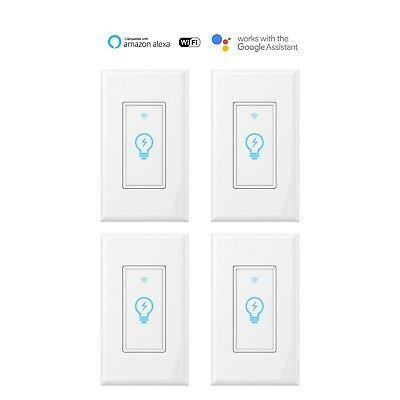 Smart Switch WIFI Light Wall Works with Alexa Google Home IFTTT smart life 4pack