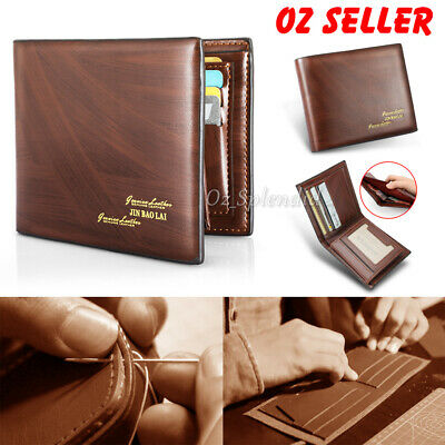 Men's Leather RFID Blocking Wallet Boutique Bifold Purse ID Window Card Holder