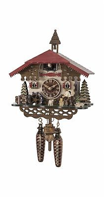 Quartz Cuckoo Clock Swiss house with mill wheel, with music EN 4501 QM NEW
