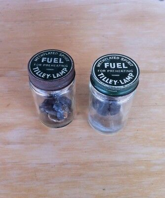 Two Vintage Methylated Spirit Fuel Tilley Lamp Jars With Preheaters