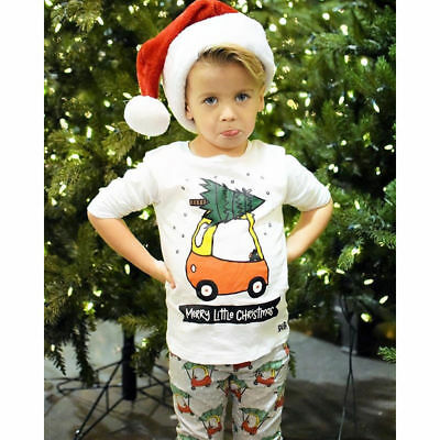 New Kids Baby Boys Girl Christmas Long Sleeve Tops+Pants Outfit Clothes Set 2pcs