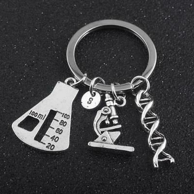 Chemical Molecule DNA Spiral Medical Microscope Triangle Bottle Gene Key Chain